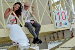 Crandon Park Key Biscayne mit Lifeguard Tower und Hochzeitspaar