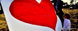Florida Hochzeit mit grossem roten Herz zum ausschneiden