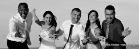 Hochzeitpaar mit Gaesten